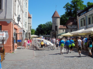 Looking towards Viru Gate from Tallinn Old Town.