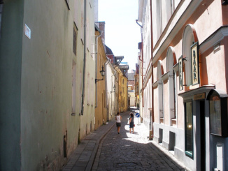 Strolling down a side street in Tallinn.