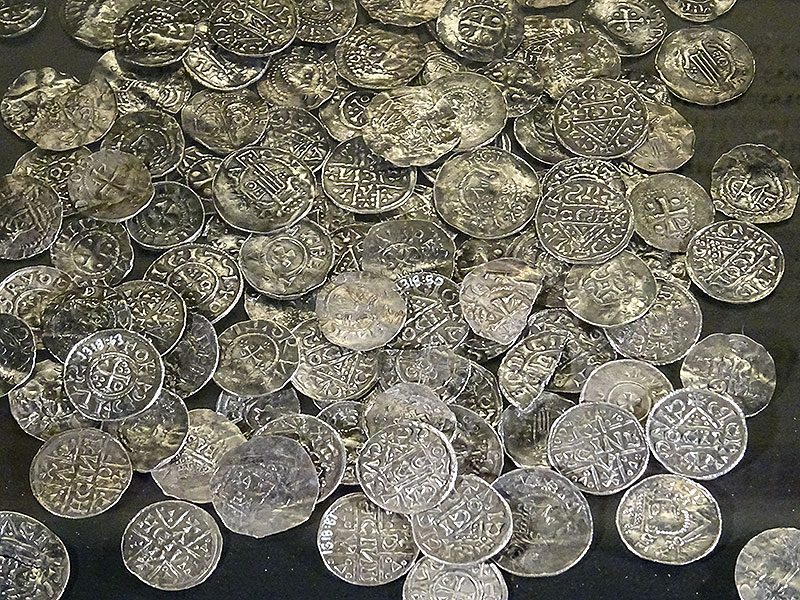 Silver coin hoard of the Viking era.