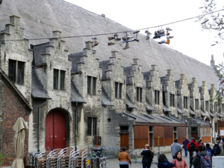 Shoes hanging above Groot Vleeshuis