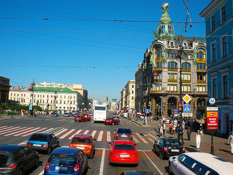 Typical downtown street in St. Petersburg