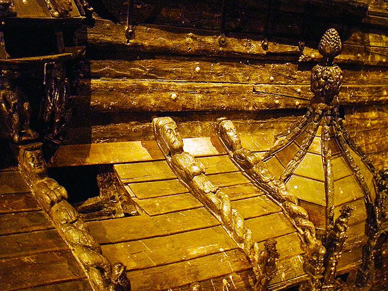 Intricate wood carvings of the warship Vasa