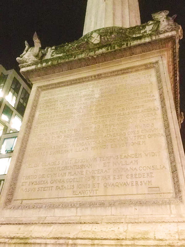 Inscription on Monument of the Great Fire of London