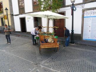 Street vendor on the main shopping street.