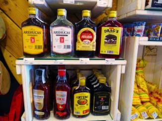 Sampling of fine liquors from the Arehucas Distillery.