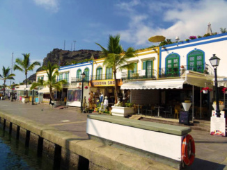 Shops along the harbor of Puerto Mogan.
