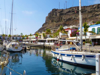 Harbor and hillside of Puerto de Mogan.