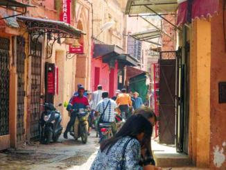 Narrow streets leading up to the market.