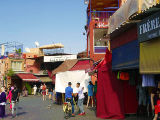 The side of the open air market.
