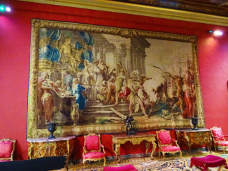 One of the many wondrous tapestries hanging at the Louvre which depict stories from Greek Mythology, Political Satire, and other major events in history.