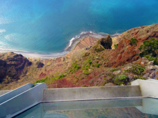 Looking down the Cabo Girao Cliffs from the Skywalk.