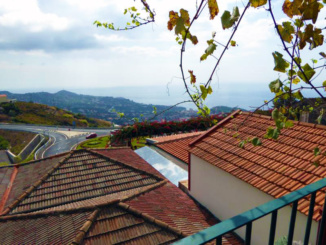 Roof top view of Saint Martin and the ocean from Adega da Quinta.