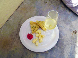 Wine, cheese, and garlic toast for the wine tasting.