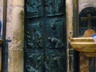The Holy Door of the Cathedral of Santiago de Compostela from inside.
