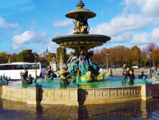 A fountain at the Place de la Concorde, dedicated to maritime France and the sea.
