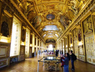 The Galerie dApollon at the Louvre was used as a model for the Hall of Mirrors at Versailles.
