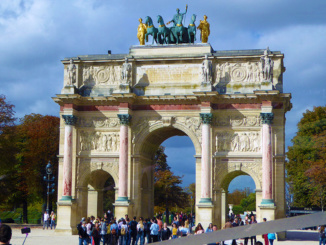 Arc de Triomphe du Carrousel, completed in 1808, commemorates Napoleon's military victories.