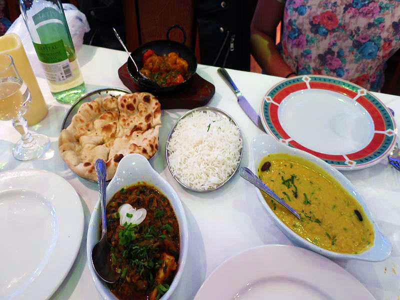 Rice, Tarka Daal, Chicken Karai, Saag Lamb & Naan