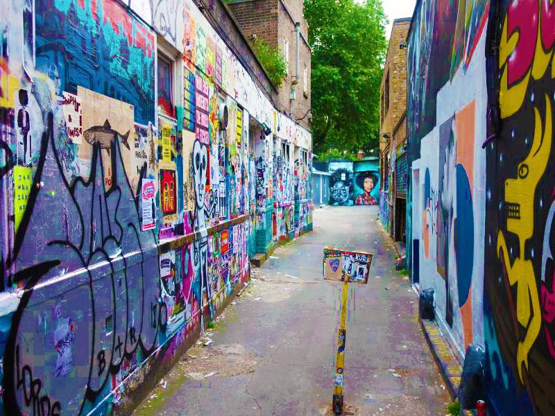 Brick Lane graffiti display