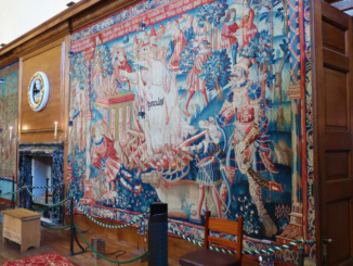 An example of the fine tapestry that lines the walls of many rooms