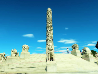 The Monolith and its surrounding sculptures stand at the highest point of Vigeland Park