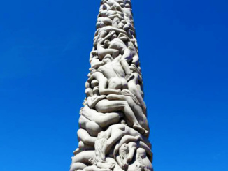 The Monolith sculpture depicts 121 human figures clinging and floating together and was placed in the park in the 1920s.