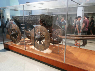 Viking wagon built in the 9th century excavated from the Oseberg burial ground