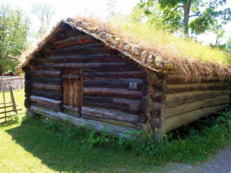 An old log house at the folk museum in Oslo, Norway
