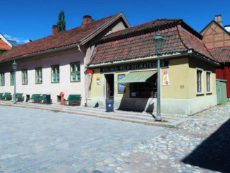 Recreation of a typical Norwegian Telemark style street with retail stores