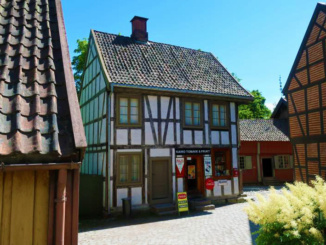 Typical Norwegian building with tobacconist shop
