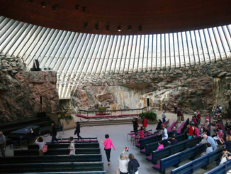 The interior of the church from the balcony which was was excavated and built directly out of solid rock