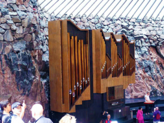 The custom church organ with 43 stops and 3001 pipes.  The rough granite walls and interior design provide excellent acoustics.