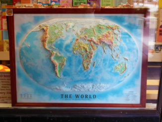 Topographic map of the world at a local souvenir shop.  Really wanted to bring this one home.