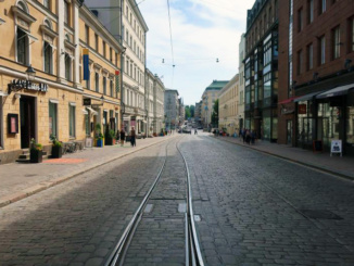 The streets of Helsinki and the electric tram tracks