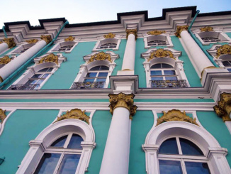 The impressive facade of the Winter Palace