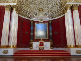 The Small Throne Room of the Winter Palace, also known as the Peter the Great Memorial Hall
