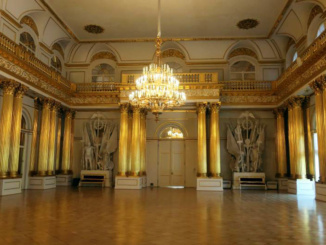 The Armorial Hall of the Winter Palace used mainly for official ceremonies and entertaining.  The fluted columns are gilded in gold leaf.