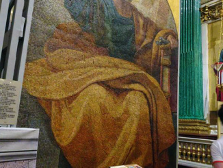 A large mosaic of the apostle Paul that has been beautifully restored