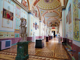 European Sculpture Gallery with phenomenal mosaics on the walls and ceilings