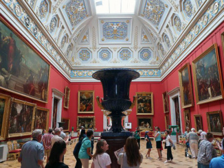 The Small Italian Skylight Room in the New Hermitage featuring 16th and 17th century paintings and stone works