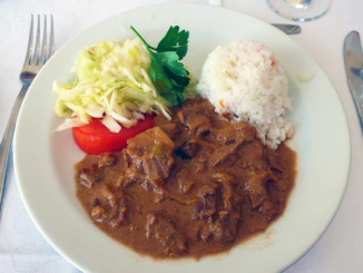 Our main entree of Beef Stroganoff and White Rice.  Delicious!