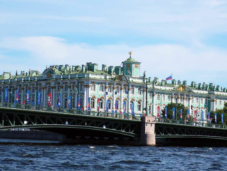 The Winter Palace (a part of the Hermitage) from the Neva River