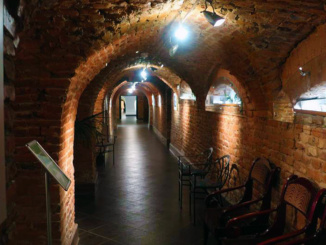 The cellar area below the palace.