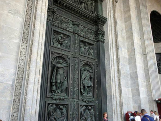 The massive exterior bronze door of St Isaac's Cathedral