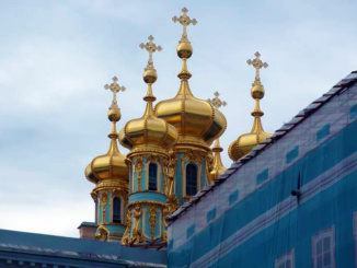 The ornate onion domes of Catherine's Palace