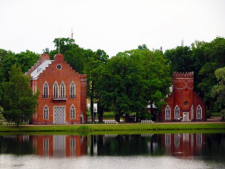 Red brick castle on the shores of the Great Pond was the summer residence of the Russian tsars