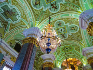 The beautiful mosaic ceiling of the fortress and its amazing chandelier