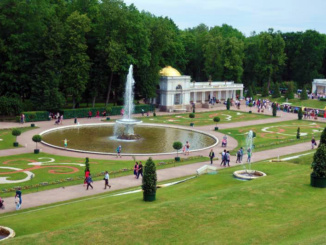 A view of the lower gardens of Peterhof