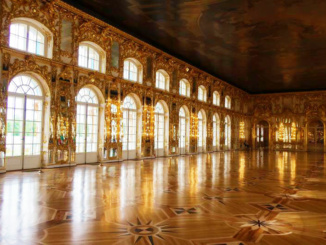 The Grand Ballroom was built in 1717 and is covered in gold gilding with inlaid wood floors