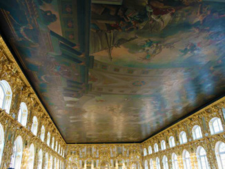 The entire ceiling of the Grand Ballroom is covered by a monumental fresco entitled 'The Triumph of Russia'